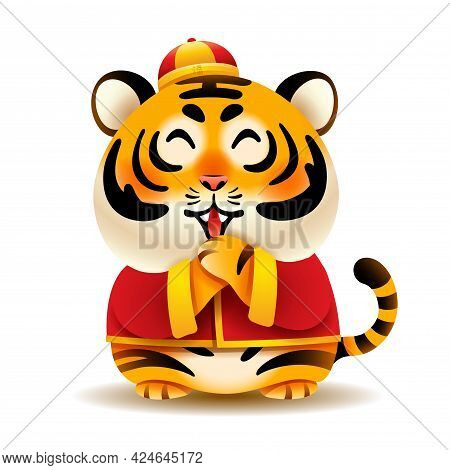 Cute Tiger With Traditional Chinese Costume Greeting Gong Xi Gong Xi. Isolated.