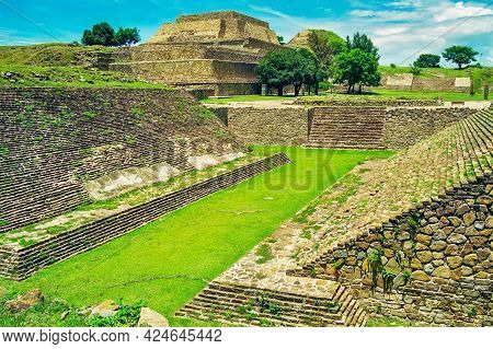 View Of Ancient Pyramids In Monte Alban, Oaxaca, Mexico