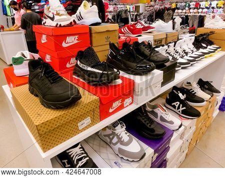 Antalya, Turkey - May 11, 2021: The Sneakers Nike At Shop At Antalya, Turkey