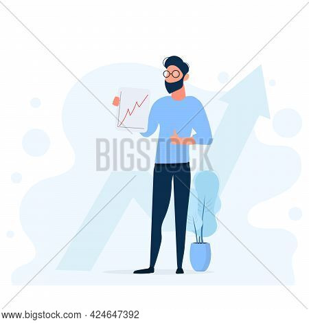 Stylish Man With Glasses. The Guy Holds A Positive Report And Shows The Class. Growth Dynamics Of A