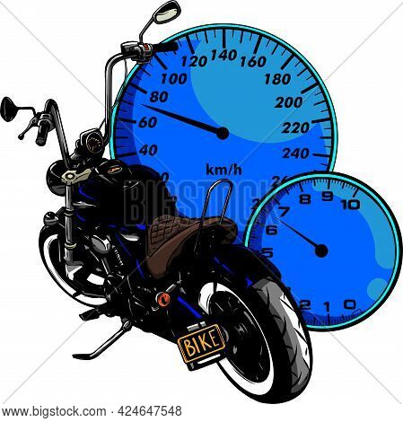 Custom Motorcycle With Speedometer Vector Illustration Design