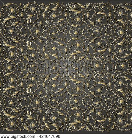 Arabesque Luxury Seamless Floral Pattern. Branches With Flowers, Leaves And Petals
