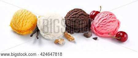 Assorted Of Ice Cream Scoops On White Background. Colorful Set Of Ice Cream Scoops Of Different Flav