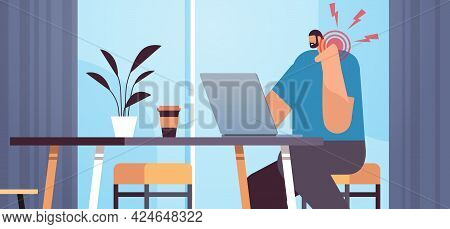 Businessman At Workplace Suffering From Neck Pain Inflammation Of Muscles Concept