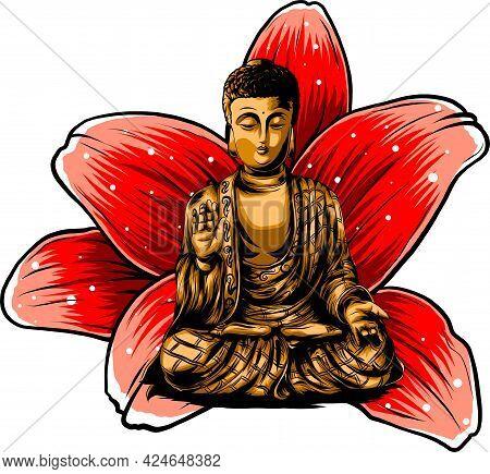 Buddha Sitting On A Lotus Background Vector Illustartion
