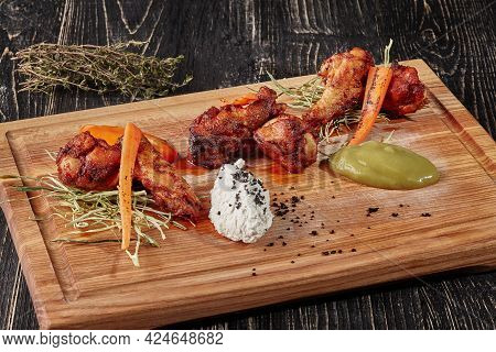 Buffalo Chicken Wings With Celery Purees, Seared Carrot, Blue Cheese Dressing