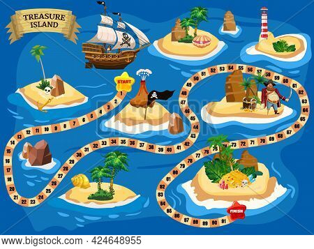 Treasure Island Pirate Board Game Map, Ocean Route. Travel Adventure Pirate Naval Ship, Pile Gold Tr
