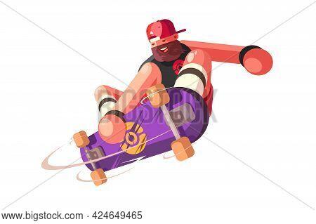 Bearded Man Skateboarder On Skate Vector Illustration. Guy Skateboarding And Showing Exciting Tricks