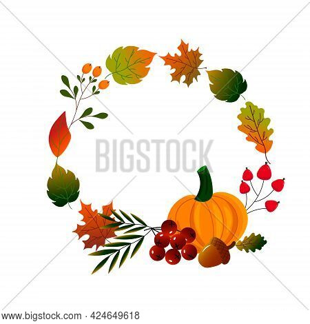 Round Frame Made Of Autumn Leaves With Pumpkin. Autumn Illustration. Vector Drawing On A White Backg