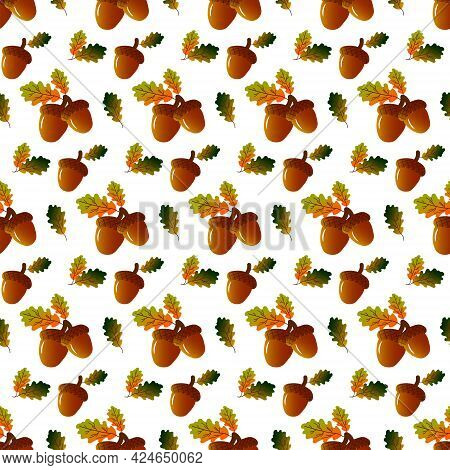 Autumn Pattern With Acorns And Oak Leaves. Vector Drawing On A White Background. For Packaging, Prin