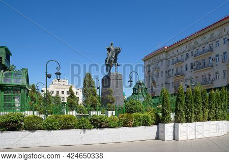 Moscow, Russia - June 17, 2021: Monument To The Founder Of The City Of Moscow, Prince Yuri Dolgoruky
