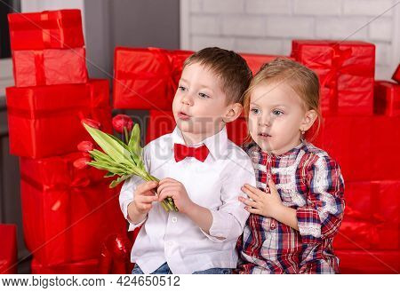 Valentine Day, Holiday, Celebration. Love, Friendship Kids And Fun. Boy And Girl Hugging. Two Happy