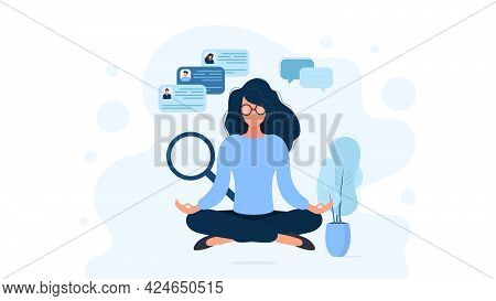 The Girl In Glasses Is Meditating. Recruitment And Recruitment Specialist. The Concept Of Finding Pe