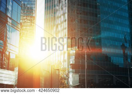 Modern Business Skyscrapers And High-rise Office Buildings Exterior At Sunset Or Sunrise. Moscow Cit