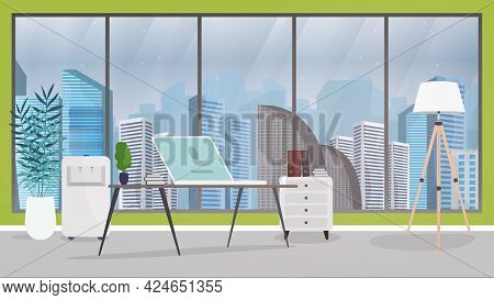 Vector Illustration Of An Office. Office Of The Director Or Chief. Desk, Laptop, Floor Lamp, Stand W