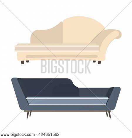 Set Of Sofas Isolated On White Background. Element For Interior Design. Vector Illustration.