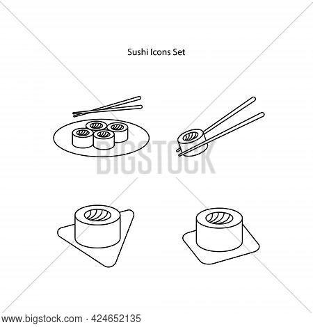 Sushi Icons Set Isolated On White Background. Sushi Icon Thin Line Outline Linear Sushi Symbol For L