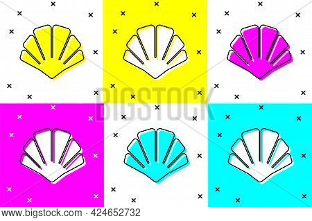 Set Scallop Sea Shell Icon Isolated On Color Background. Seashell Sign. Vector
