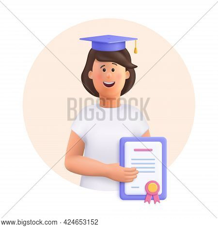 Young Woman Jane - Student In Graduation Cap And Robe Standing, Holding Diploma Or Certificate. Acad