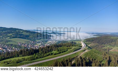 Aerial View With Valy Bridge, The Tallest Bridge In Slovakia.