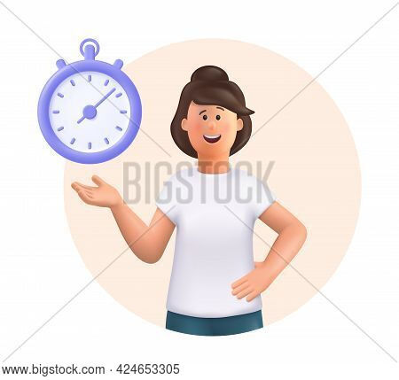 Young Woman Jane Standing, Smiling, Pointing To Timer. Time Set, Timing, Self Organization, Day Plan
