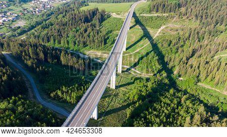 Top View Of Valy Bridge, The Tallest Bridge In Slovakia.