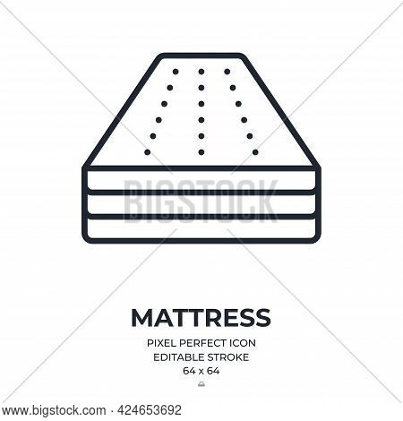 Mattress Editable Stroke Outline Icon Isolated On White Background Flat Vector Illustration. Pixel P