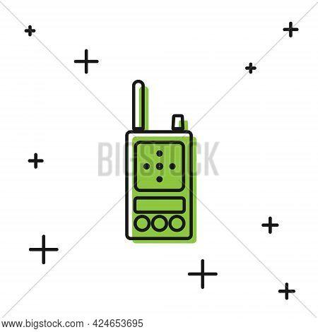 Black Walkie Talkie Icon Isolated On White Background. Portable Radio Transmitter Icon. Radio Transc