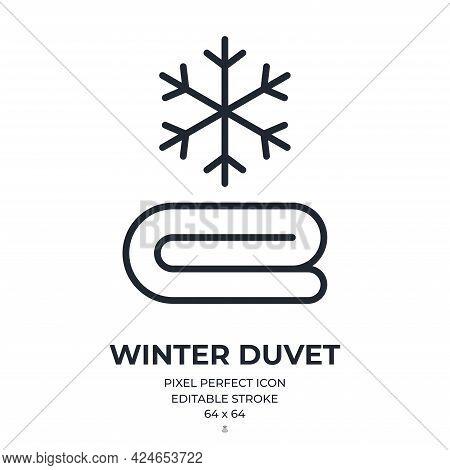Winter Duvet Editable Stroke Outline Icon Isolated On White Background Flat Vector Illustration. Pix