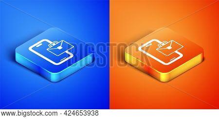 Isometric Freelancer Icon Isolated On Blue And Orange Background. Freelancer Man Working On Laptop A
