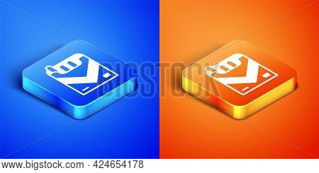 Isometric Cigarettes Pack Box Icon Isolated On Blue And Orange Background. Cigarettes Pack. Square B