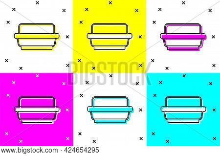 Set Butter In A Butter Dish Icon Isolated On Color Background. Butter Brick On Plate. Milk Based Pro