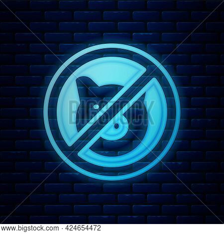 Glowing Neon No Pig Icon Isolated On Brick Wall Background. Stop Pork. Animal Symbol. Vector