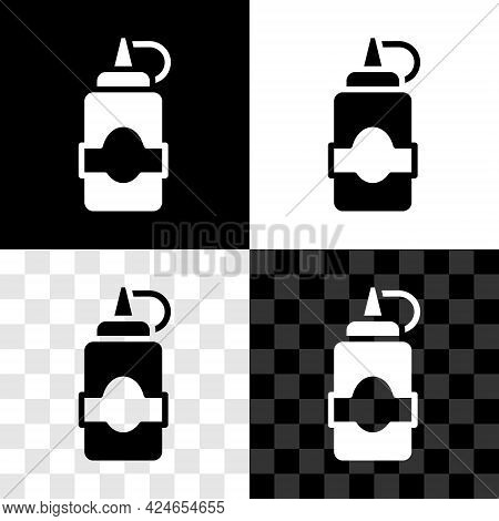Set Sauce Bottle Icon Isolated On Black And White, Transparent Background. Ketchup, Mustard And Mayo