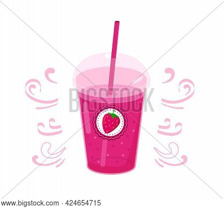 Realistic Plastic Glass With Red Juice Or Smoothies And Straw. Vector Illustration
