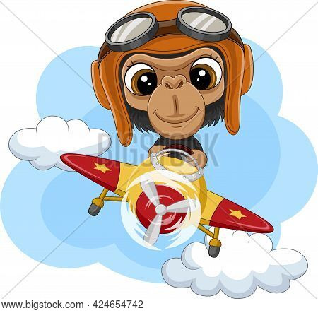 Vector Illustration Of Cartoon Baby Chimpanzee Operating A Plane