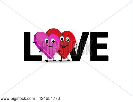 Word Love And Couple. Two Loving Hearts Couple. Cute Characters Of Lovers.