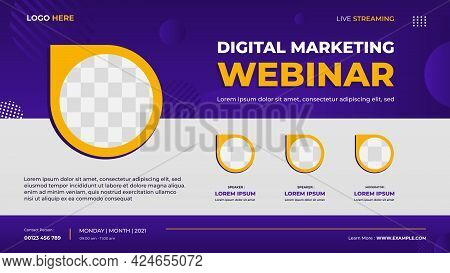 Digital Marketing Webinar Banner Template For Website With Three Circle Frames And Geometric Backgro