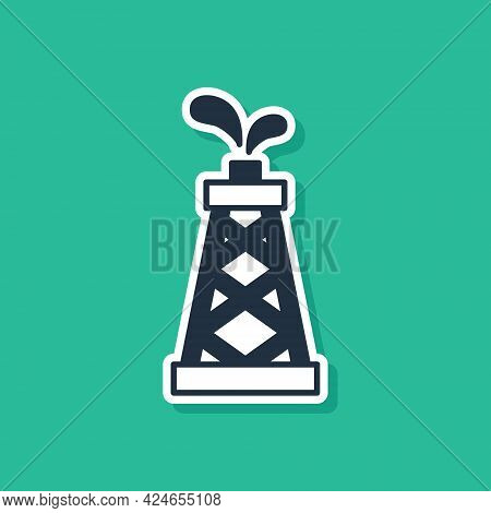 Blue Oil Rig Icon Isolated On Green Background. Gas Tower. Industrial Object. Vector