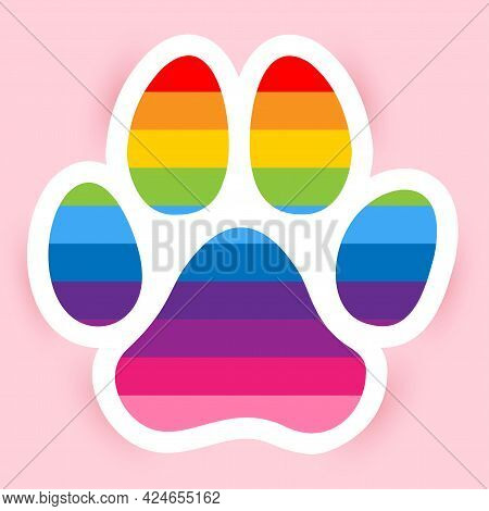 Dog Paw With Pride Rainbow Flag - Handwritten Vector Paw Shape Silhuette. Good For Logo, Tattoo Desi