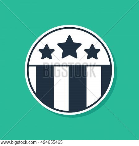 Blue Medal With Star Icon Isolated On Green Background. Winner Achievement Sign. Award Medal. Vector