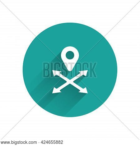 White Map Pin Icon Isolated With Long Shadow Background. Navigation, Pointer, Location, Map, Gps, Di