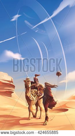 A Family Is Traveling In A Desert For Their Pilgrimage With A View On The Background Of A Futuristic