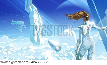 A Beautiful Lady Standing And Looking To The Spacecraft Is Landing On The Futuristic Structure On An