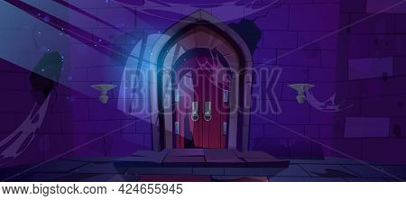 Abandoned Dungeon, Medieval Castle Night Interior With Moonlight Fall On Wood Arched Door And Barred