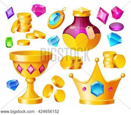 Treasure, Magic Items Golden Coins, Crystal Gems, Crown, Gold Goblet With Potion Bottle, Precious Ro