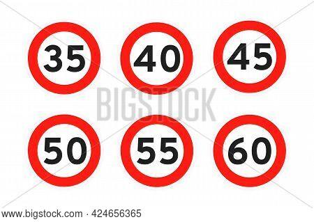 Speed Limit 35, 40, 45, 50, 55, 60 Round Road Traffic Icon Sign Flat Style Design Vector Illustratio