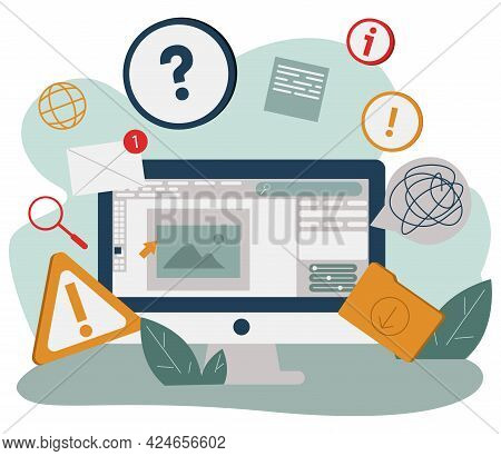 Cartoon Computer Monitor With Many Internet Notifications Vector Flat Illustration. Modern Device Wi