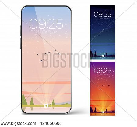 Smartphone Lock Screen With Day And Night Landscape. Mobile Phone Onboard Page With Date And Time, N
