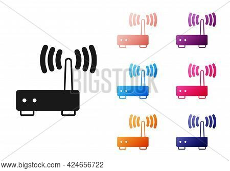 Black Router And Wi-fi Signal Icon Isolated On White Background. Wireless Ethernet Modem Router. Com